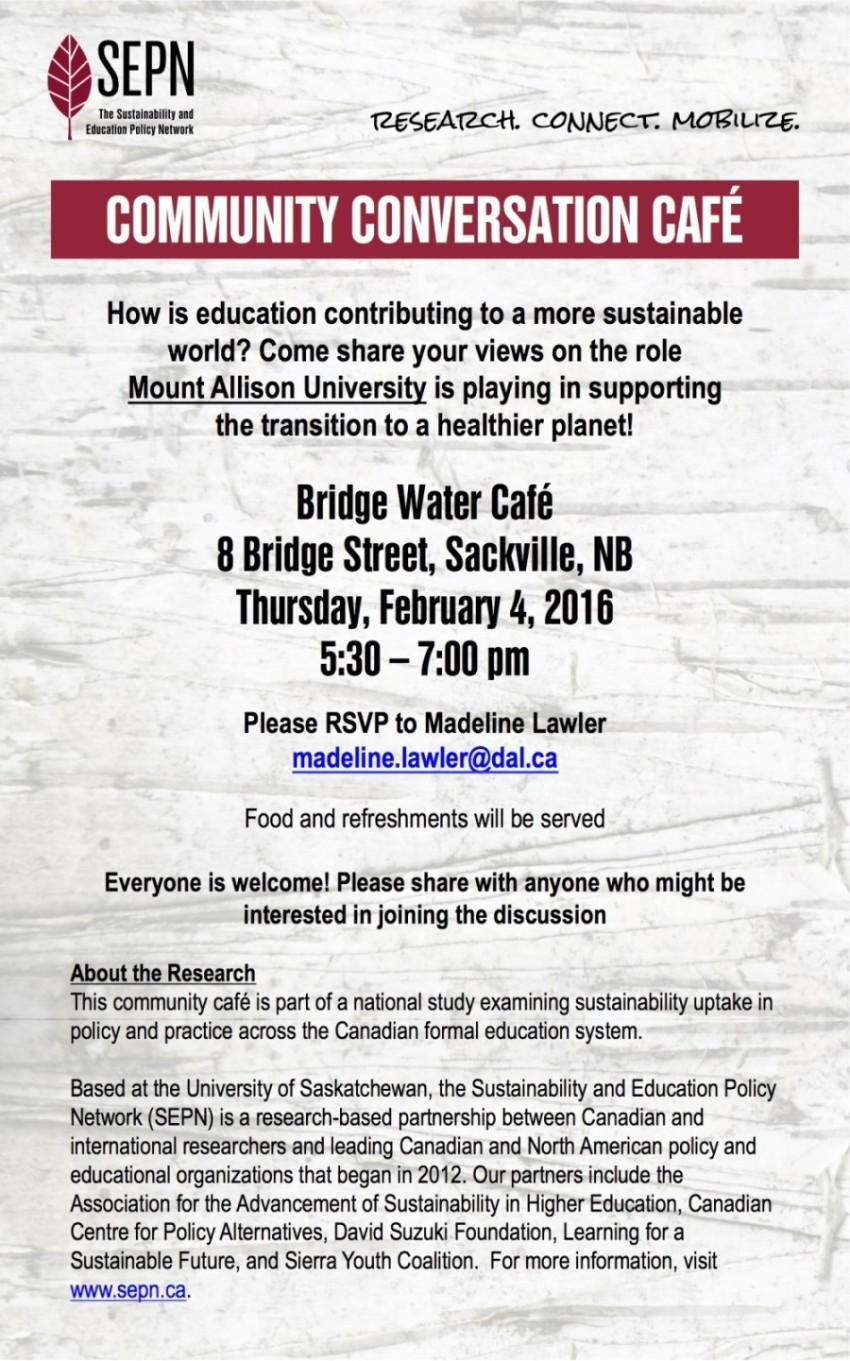 Community Conversation Cafe Poster (Mount Allison)